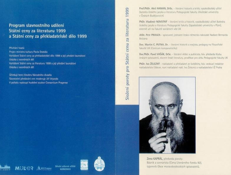 státní cena za literaturu 4 program a porota