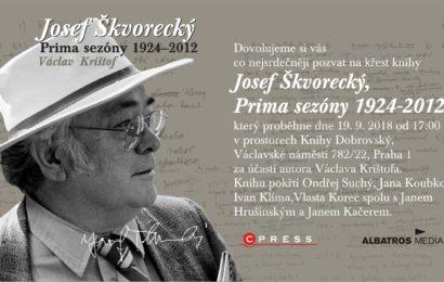 Křest knihy Václava Krištofa Josef Škvorecký: Prima sezóny 1924 – 2012